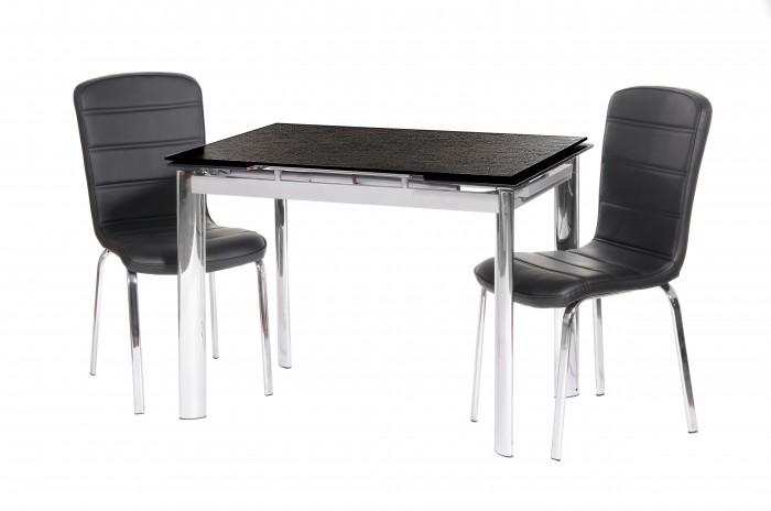 Нецарапающийся раскладной стеклянный стол TN-40, черный